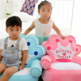 Baby Kids Only Cover NO Filling Cartoon Crown Seat Children Chair Skin Toddler Children Cover for Sofa Best Gifts